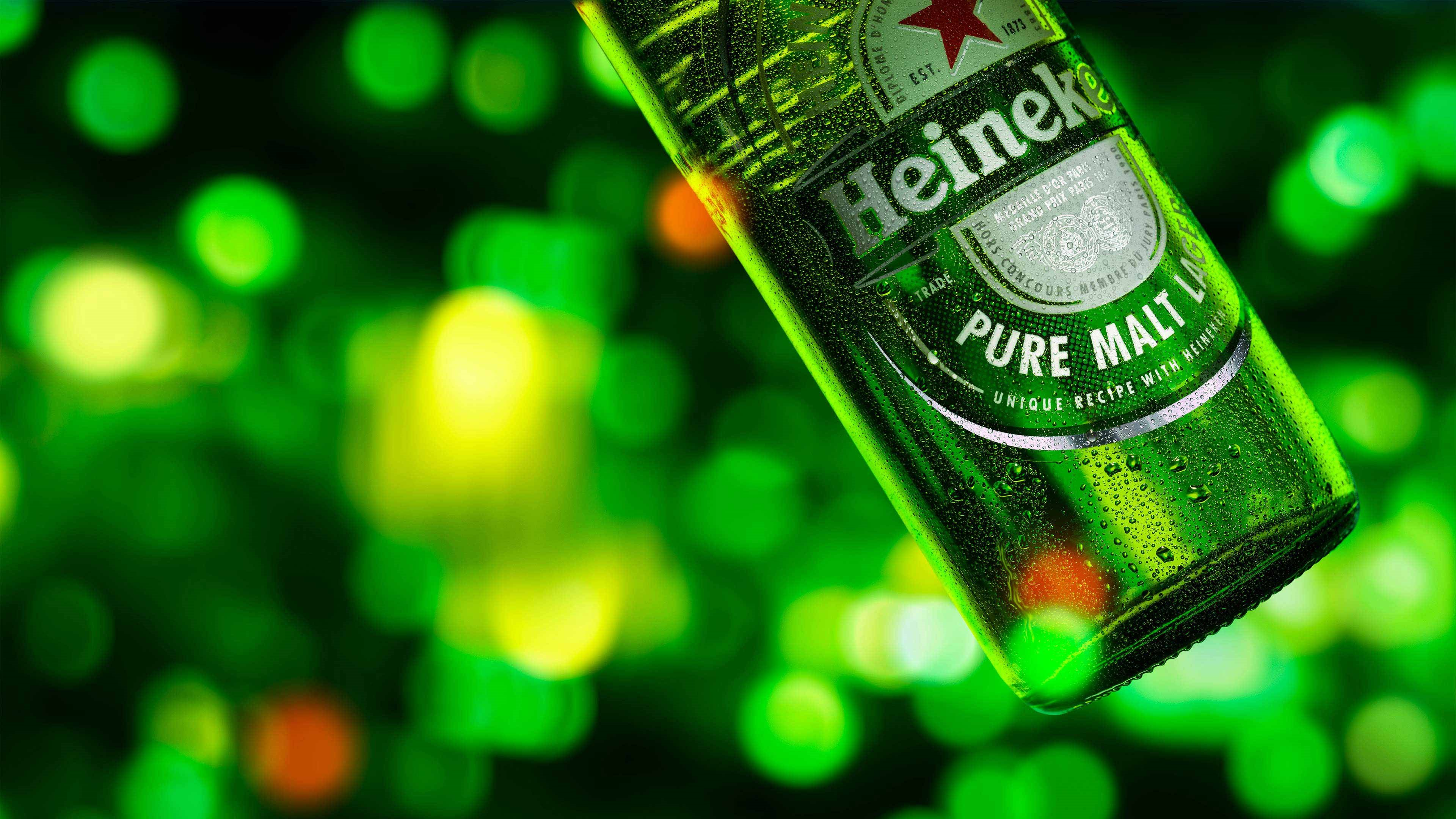 Heineken is brewed from pure malt - bottle